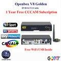 DVB-S2 Openbox V8 Dourado/DVB-T2 DVB-C Receptor de Satélite com 1 anos a Europa cccam Cline 1 USB receptor wi-fi