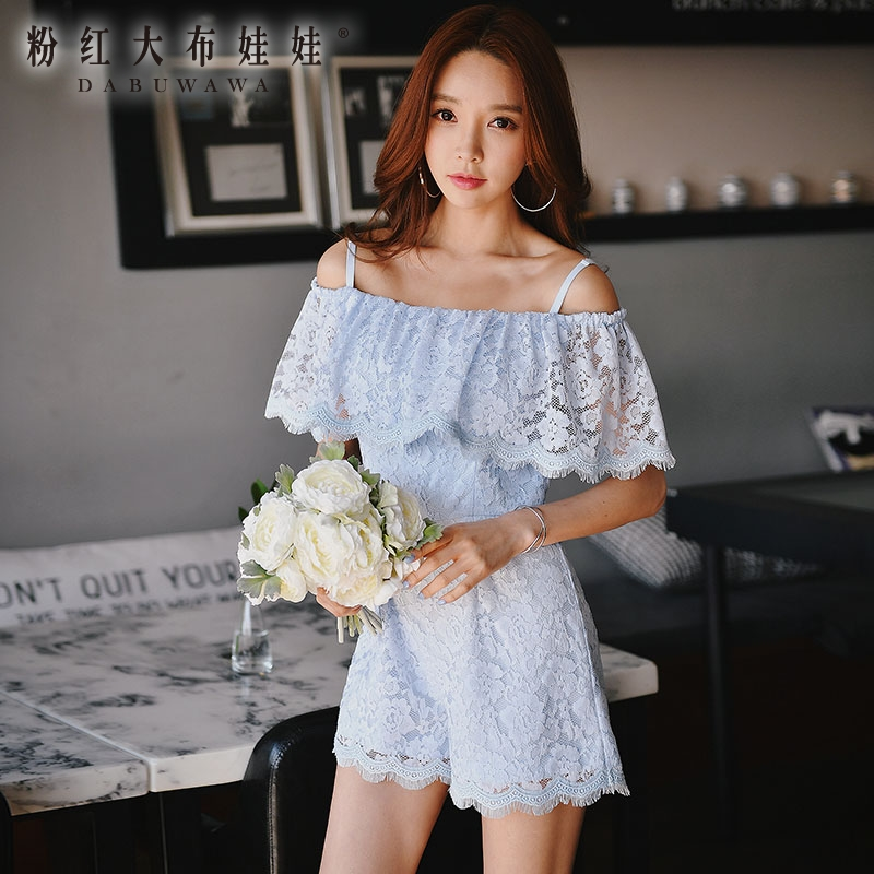 original 2017 new fahsion vintage high waist ladies off the shoulder ruffled solid shorts jumpsuits women wholesale