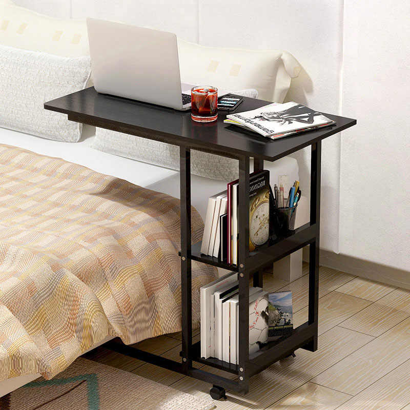 Fashion Multi-function Side Table Bedside Laptop Table Home Simple Computer Desk Folding Mobile Small Desk With Storage Rack