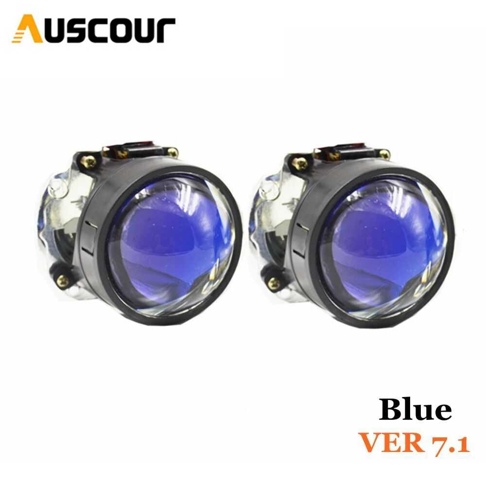 VER 7.1 blue coating Bi xenon hid Projector lens LHD retrofit modify Diy Headlamp H1 H4 H7 car motorcycle assembly kit