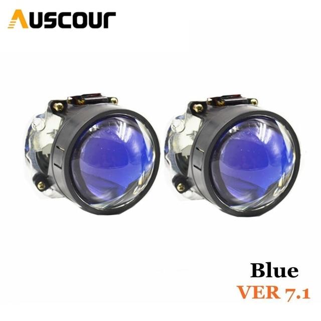 VER 7.1 revestimento azul xenon Bi escondeu lente Do Projetor retrofit LHD modificar Diy Farol H1 H4 H7 carro motocicleta montagem kit