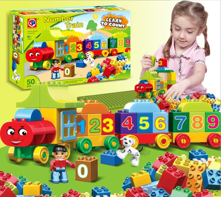 50pcs Large particles Numbers Train Building Blocks Bricks Educational Baby City Toys Compatible With LegoINGly Duplo qwz 39 65pcs farm animals paradise model car large particles building blocks large size diy bricks toys compatible with duplo