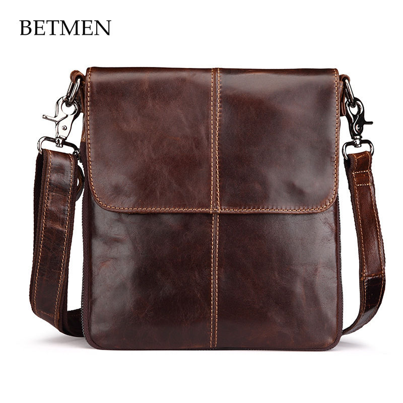 BETMEN Brand Men Bag Vintage Genuine Leather Male One Shoulder Crossbody Men Messenger Bags