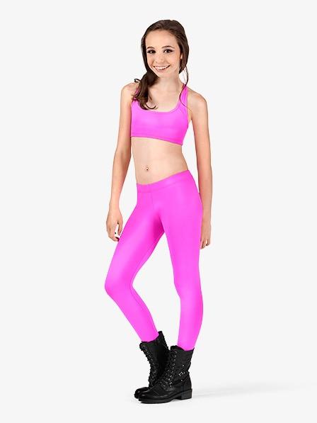 Icostumes Girls Leggings  Lycra Gymnastics Dance Leggings  Low Waist  Dance Leggings Gym Workout Fitness Yoga Legging Pants  (2)