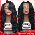 New Cheap 1b# Body Wavy Hair Brazilian Synthetic Lace Front Wigs With Baby Hair Heat Resistant High Density Wigs For Black Women