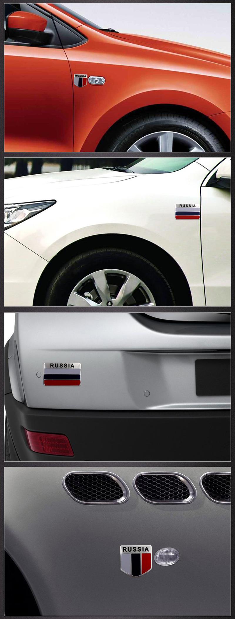 3D Aluminium Russland Flagge Auto Emblem Metallaufkleber Abzeichen ...