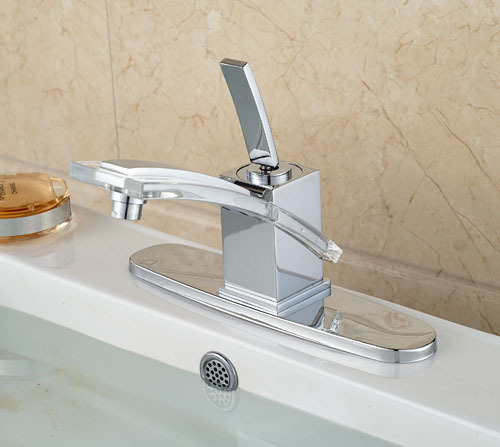 ФОТО Newly Wholesale And Retail Chrome Solid Brass Basin Sink Faucet Mixer Tap Single Handle  Deck Mounted with Hole Cover Plate