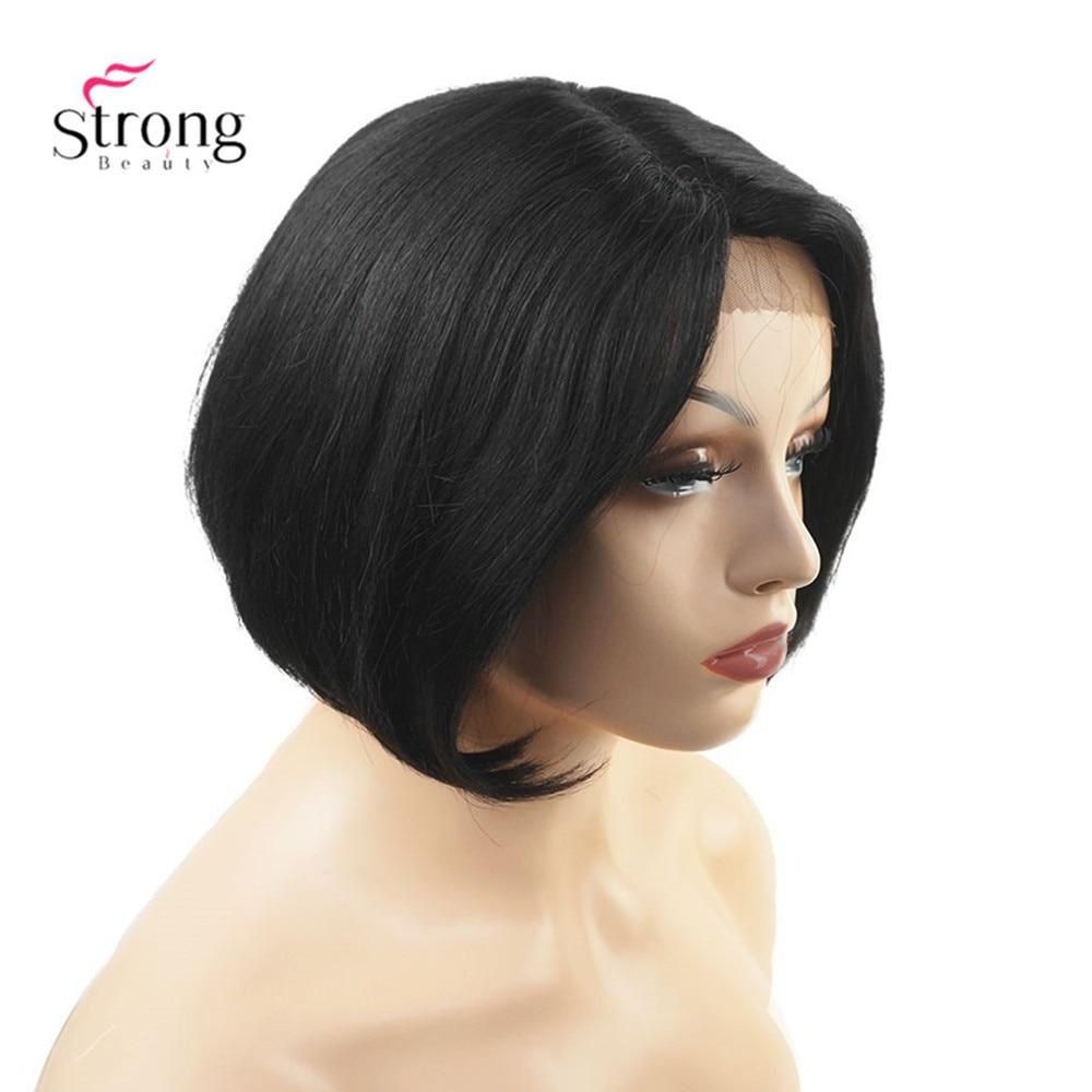 Human Hair Natural black Blend Short Lace Front Wig Bob Side Part  Wig For Black Women