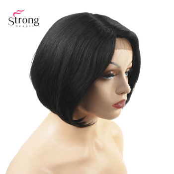 Human Hair Natural black Blend Short Lace Front Wig Bob Side Part  Wig For Black Women