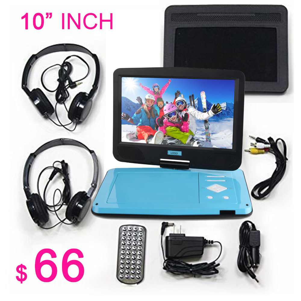 2018 New 10 Inch ultrathin Portable Dvd Player Car DVD pentagram vcd Misic Video Support Sd Mmc Card Give away two headphones