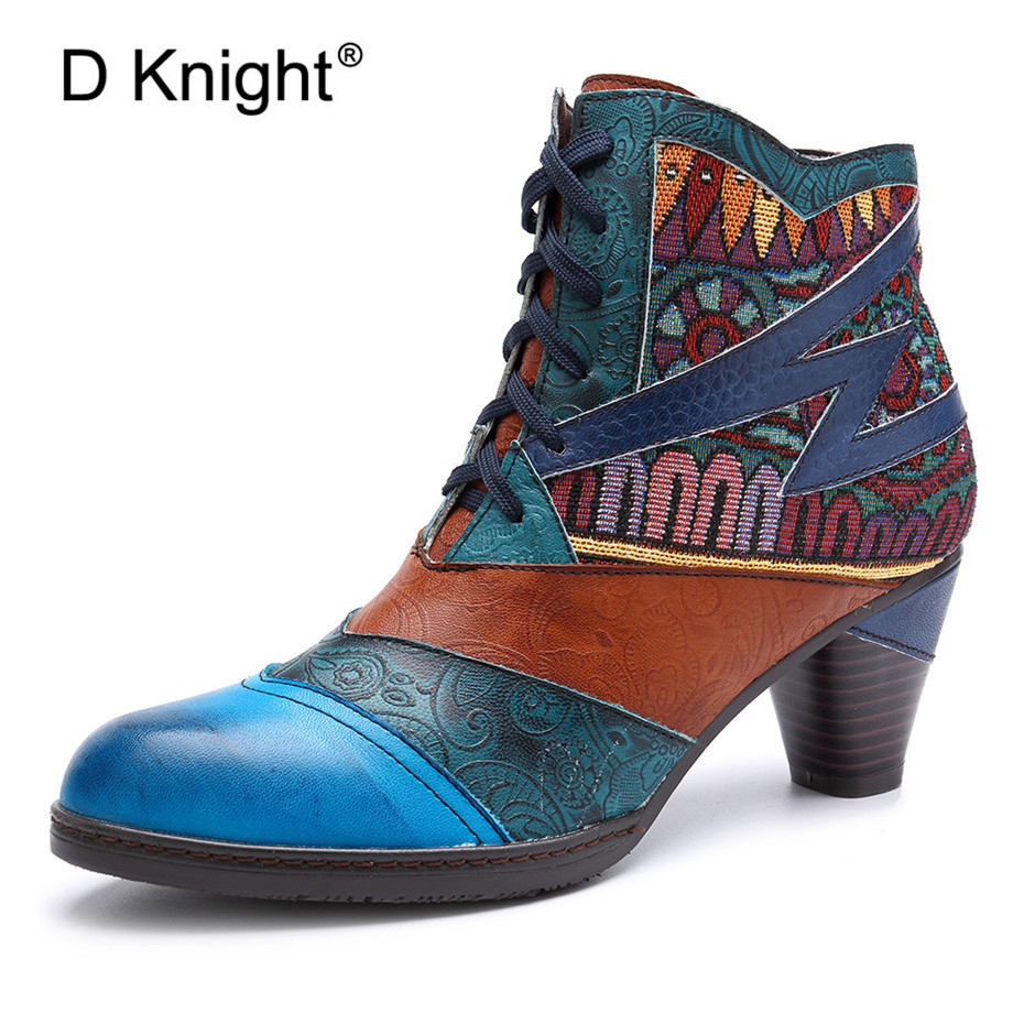 D Knight Bohemian Splicing Women Boots Retro Genuine Leather Shoes Woman Zipper Mid Heels Ankle Autumn Spring