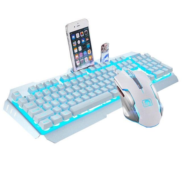 Teclado de Jogos com Fio Adesivos para Tablet Novo Teclas Backlit Teclados Mouse Combo Metal Gamer Teclado Russo Desktop 104