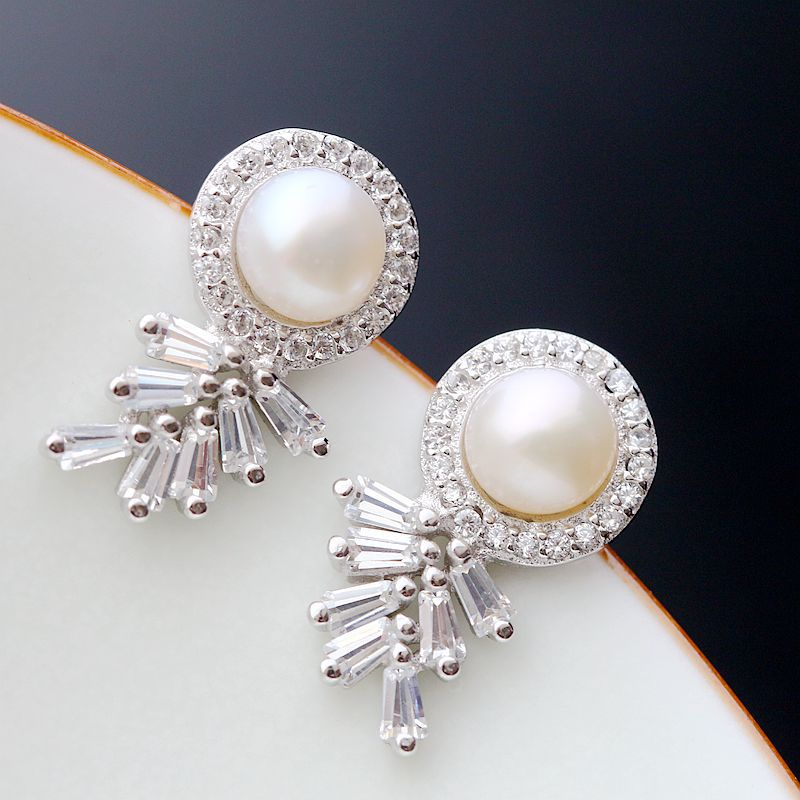 Ecoworld Ge hand set jewelry wholesale natural pearl earrings are hypoallergenic women 925 Sterling Silver Earrings