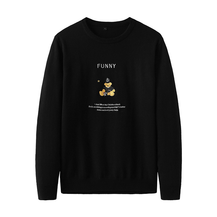 New 2019 Man Luxury Embroidered Bear Letters Knit Casual Sweaters Pullovers Asian Plug Size High Quality Drake #J64