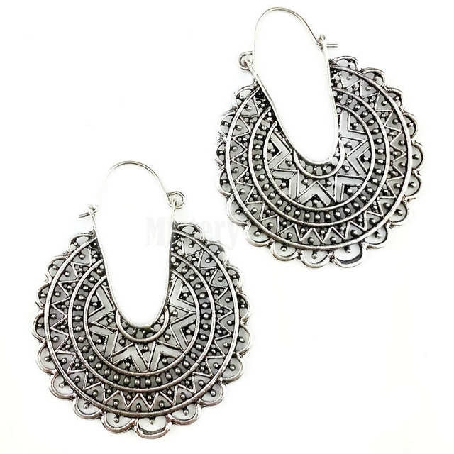 8cad190550 US $0.86 |Ethnic Antique Tibetan Silver Color Hollow Fligree Round Hoop  Earrings Vintage Jewelry Jewellery Gift For Women Girls-in Hoop Earrings  from ...