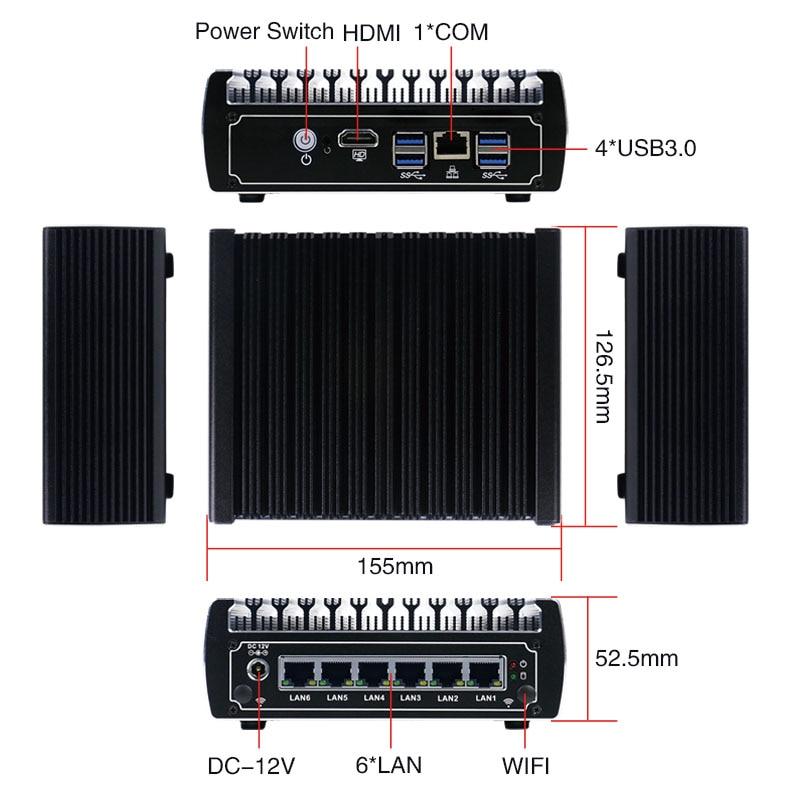 Minisys Kleine Hause Firewall Server 6 Lan Port Intel Kaby see Core I5-7200U CPU Fanless VPN Pfsense Mini PC Mit 4 USB3.0 AES-NI