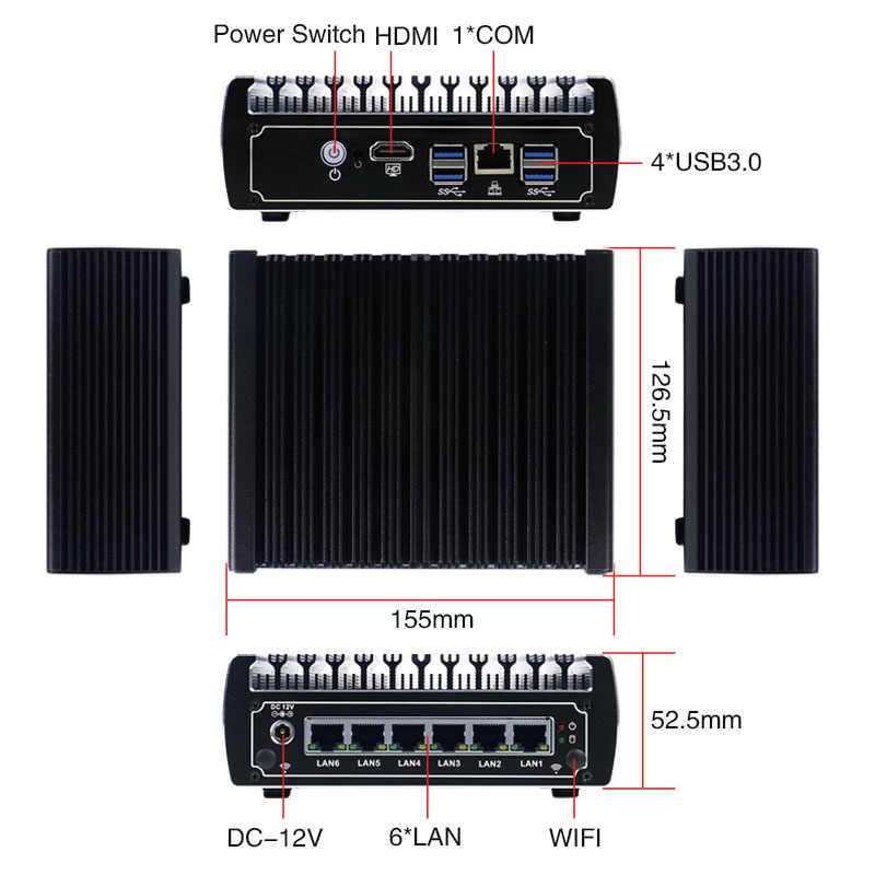 Minisys Kleine Home Firewall Server 6 Lan-poort Intel Kaby lake Core I5-7200U CPU Fanless VPN Pfsense Mini PC Met 4 USB3.0 AES-NI
