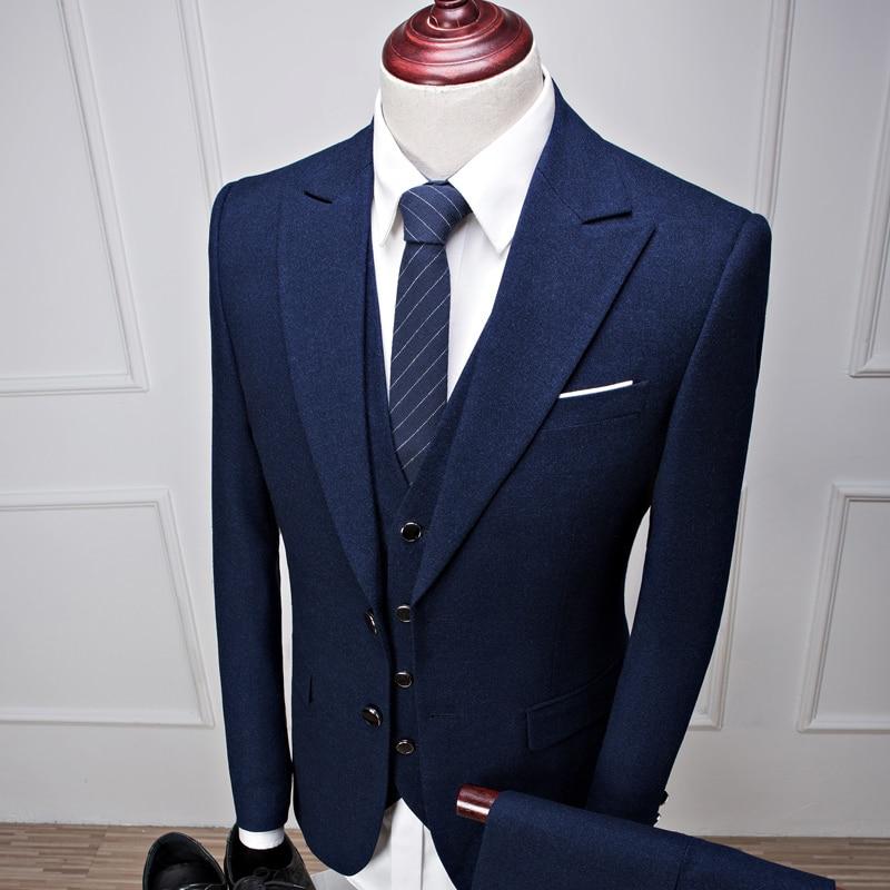 Haute Costumes Costume Unique Mode veste De Poitrine Style 2017 Gilet Qualité Laine Ciel pu Nouveau Hommes Bleu Mariage Pantalon x7vFqOvX
