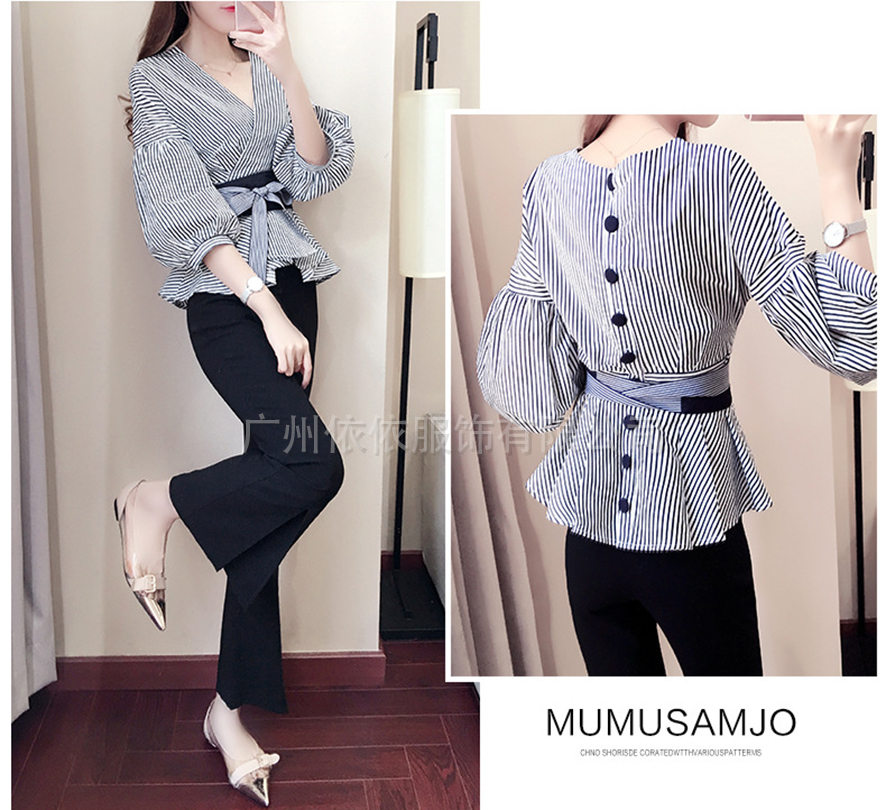 Spring and aummer new style Fashion temperament shirt split wide leg pants Korean fashion two piece suit in Women 39 s Sets from Women 39 s Clothing