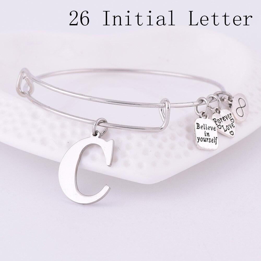 2018 Expandable Stainless Steel Charm Bracelet Diameter Ancient Silver A-Z Initial Letter Charm Bracelet Adjustable Wire Bangle