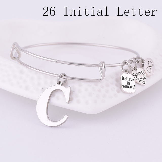 2018 Expandable Stainless Steel Charm Bracelet Diameter Ancient Silver A-Z Initi