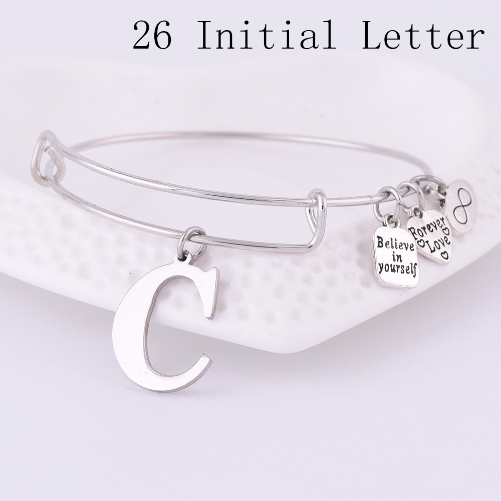 2019 Expandable Stainless Steel Charm Bracelet Diameter Ancient Silver A-Z Initial Letter Charm Bracelet Adjustable Wire Bangle
