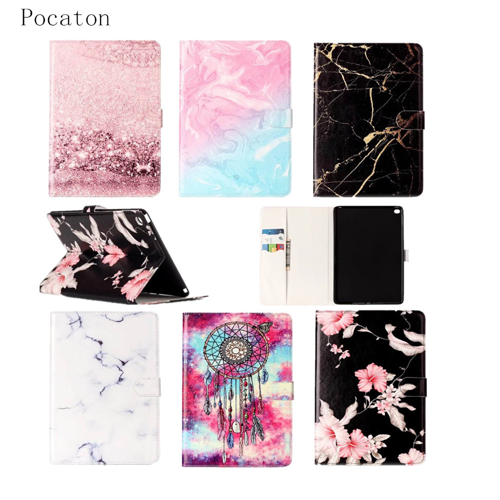 Case for iPad Air2, Pocaton Cute flower pattern Folio Stand Case Cover For Apple Ipad Air 2 9.7 Inch tablet