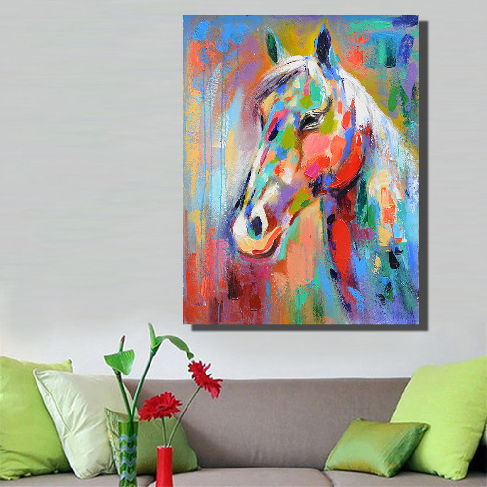 Smiling Horse Graffiti Picture Canvas decoration oil painting picture