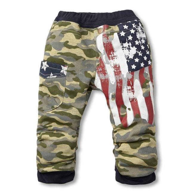 Pantalones de los muchachos 2016 Bobo Choses Bandera Imprimir Niños Ropa de Camuflaje Pantalones de Algodón Casual Pantalones de Los Muchachos de Primavera y Otoño