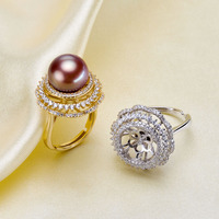 2 Color 925 Sterling Silver Pearl Ring Trendy Finger Ring Adjustable Ring Findings Jewelry Parts Fittings Accessories, 3pcs/lot