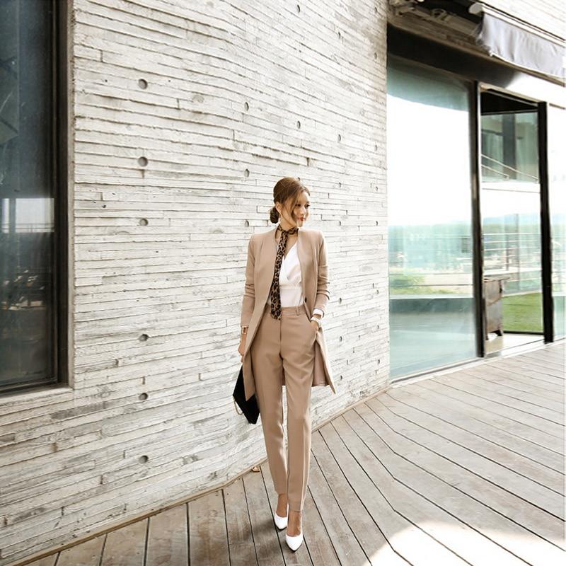 New fashion female long sleeve v-neck slim suit women comfortable high quality set
