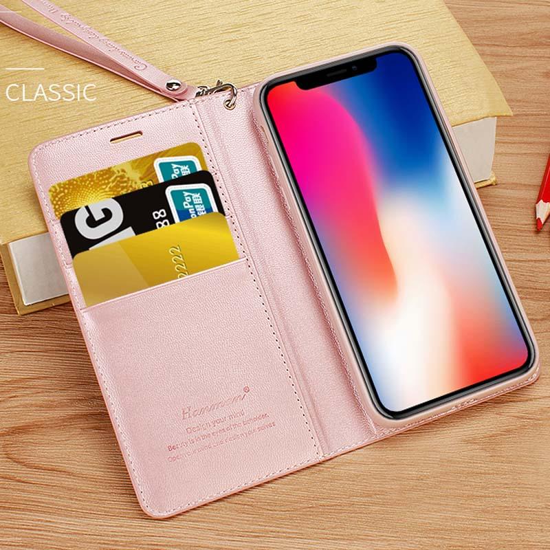 Luxury Slim Premium PU Flip Leather Cover Soft TPU Free Lanyard Fashion Phone Case for iPhone X 6 7 8 6 Plus 7 Plus 8 Plus Case