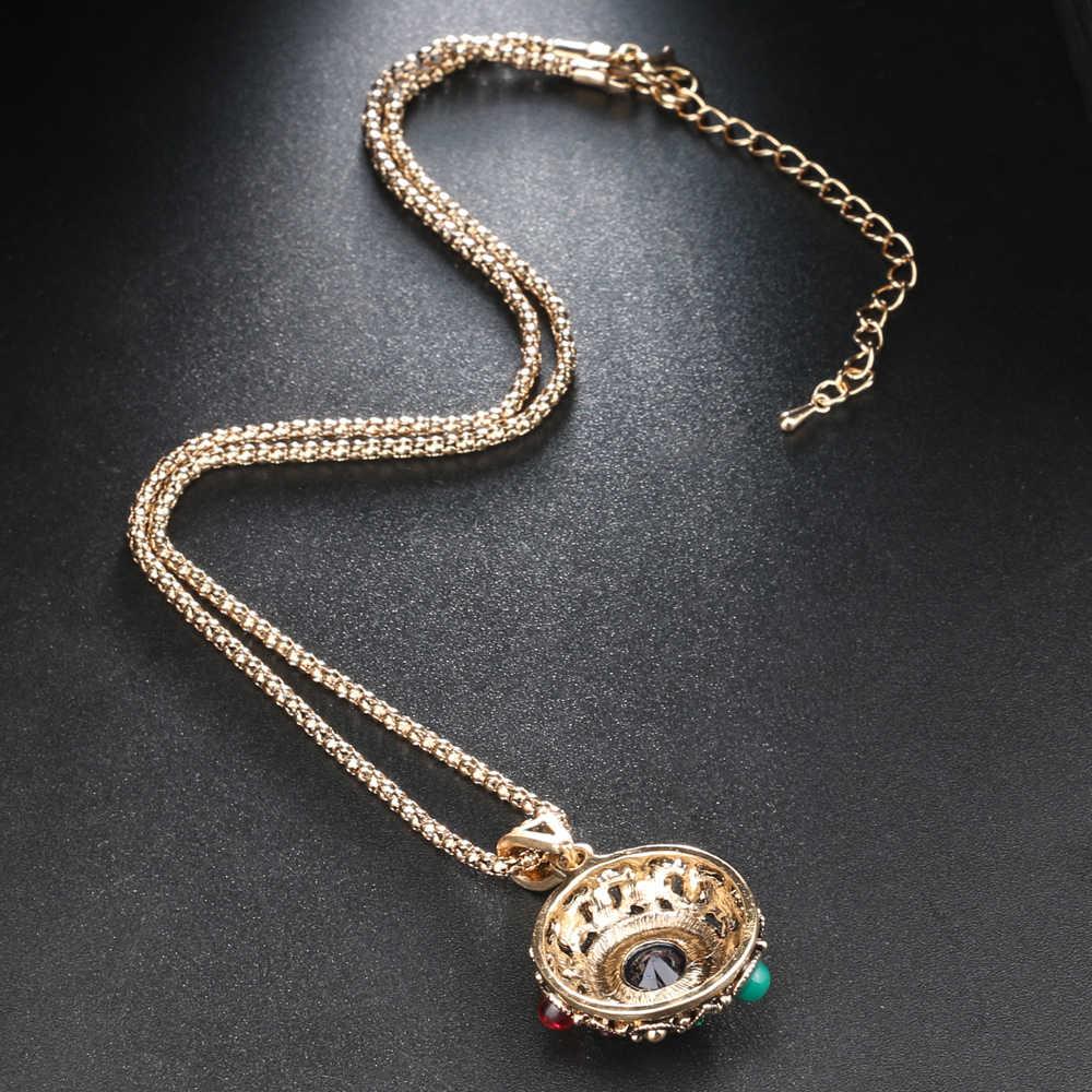 Kinel 3Pcs Dubai Gold Wanita Fashion Perhiasan Set Batu Biru Liontin Anting-Anting Kalung dan Cincin Vintage Pernikahan Perhiasan
