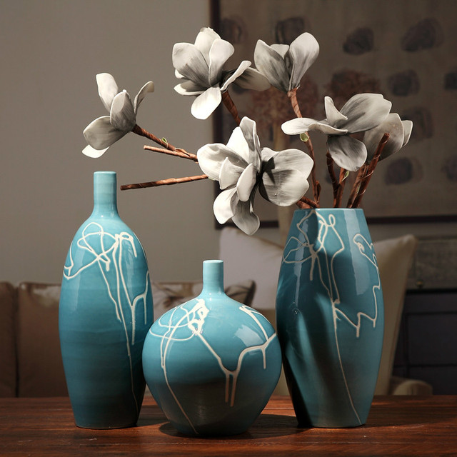 Creative Design Modern White Cream Blue Ceramic Vase Home Dining
