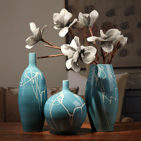 Creative Design Modern White Cream Blue Ceramic Vase Home Dining Table Decoration Wedding Party Decor