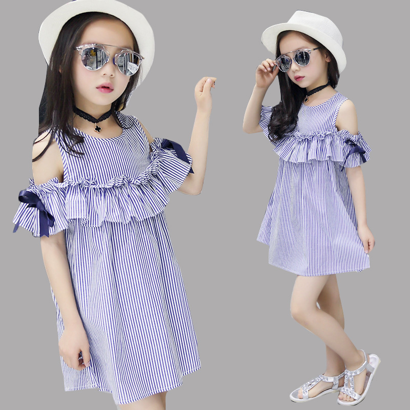 Dresses for Girls Summer Party Clothes Children Off Shoulder Stripe Dress Infant Vestidos 2 4 8 9 12 Years Girls Kids Cute Dress 2016 new girls dress cotton summer style sleeveless children dress party dresses for 2 7 years kids toddler vestidos kf509
