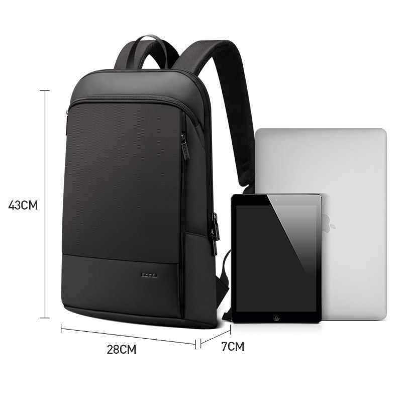 Bopai magro portátil mochila homens 15.6 polegada trabalho de escritório homens mochila saco de negócios unisex preto ultraleve mochila fina volta pacote