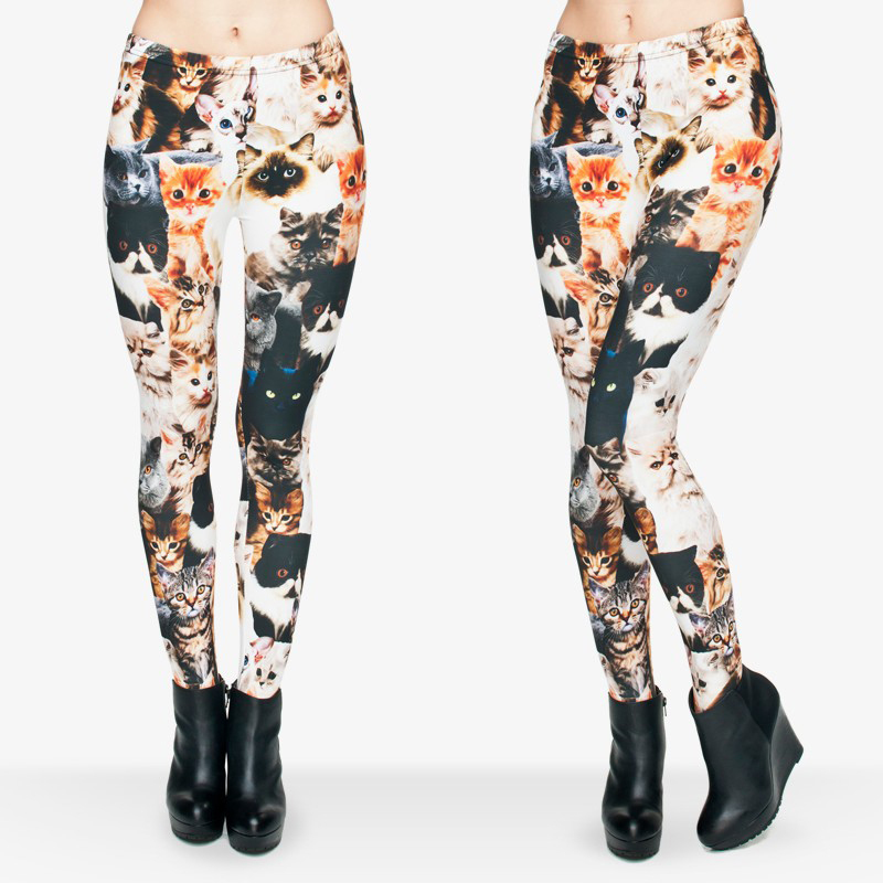 8 Designs Of Funny Different Cute Cats Printed Leggings Women fitness Leggings Pant With Stretched Casual