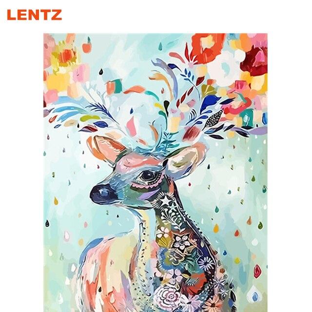 Us 862 49 Offmit Rahmen Bild Von Zahlen Abstrakte Tier Deer Bild Diy Malen Nach Zahlen Raumdekoration Gemälde Auf Wand Design 40x50 Cm In Mit