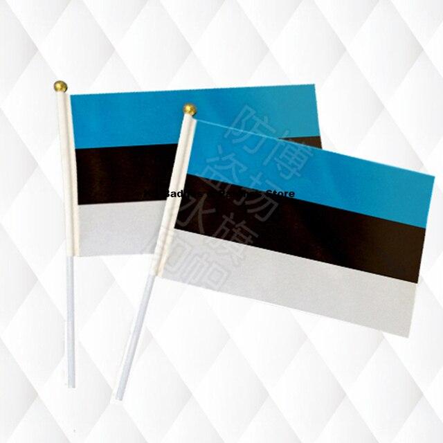 """אסטוניה מקל כף יד בד בטיחות כדור למעלה יד דגלי דגלים לאומיים 14*21 ס""""מ 10 יחידות הרבה"""