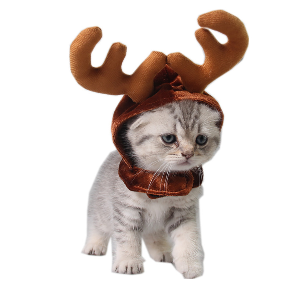 Christmas Antler Cap For Cats Xmas Hat For Small Dogs Funny Cat