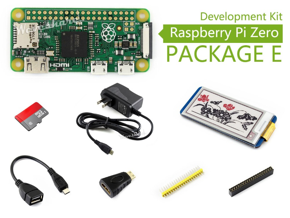 Raspberry Pi Zero Package E Basic Development Kit Micro SD Card, Power Adapter, 2.13inch e-Paper HAT, and Basic Components raspberry pi zero w package e basic development kit 16gb micro sd card power adapter 2 13inch e paper hat and basic components