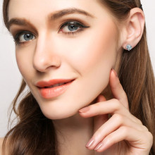 Natural daimond Earrings 18k Pure Gold Simple Exquisite Round Elegant Classic Wedding Hot Sale 2017 New Party Women Girl Gift