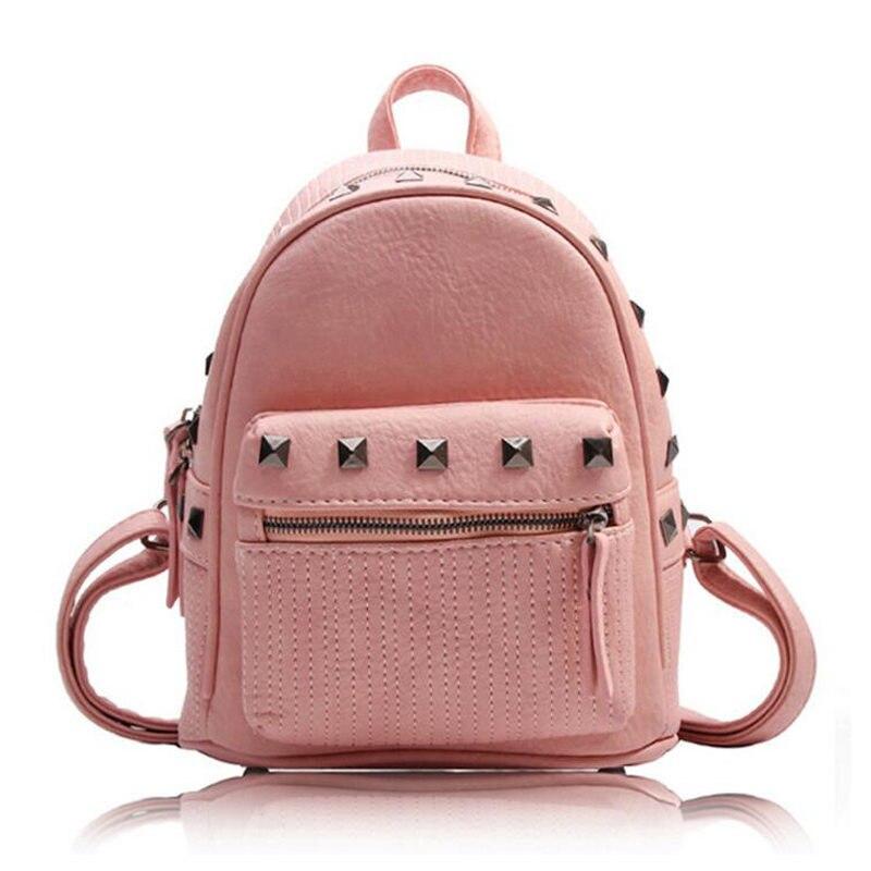 Preppy Style Brand Rivets Shoulder Bag PU Leather Women Backpack Girls School Bags for Teenagers Travel Back Pack Mochila 131064