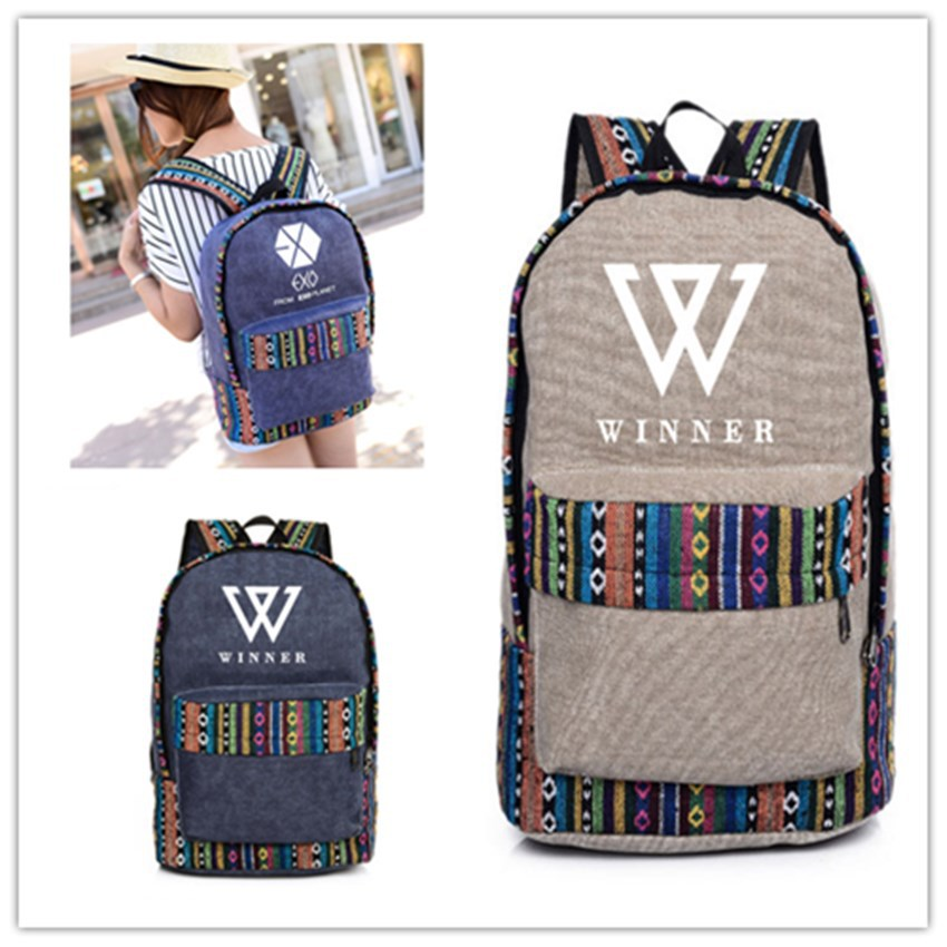 Kpop money winner with ethnic style shoulder Korean version kpop exo k-pop luggage Student travel mountaineering canvas bts