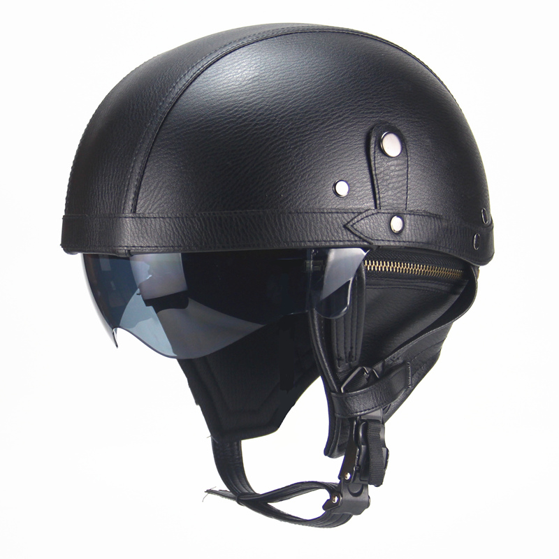 Helmets Motocicleta Half-Cruise Retro Adult Black for Prince with Dual-Lens
