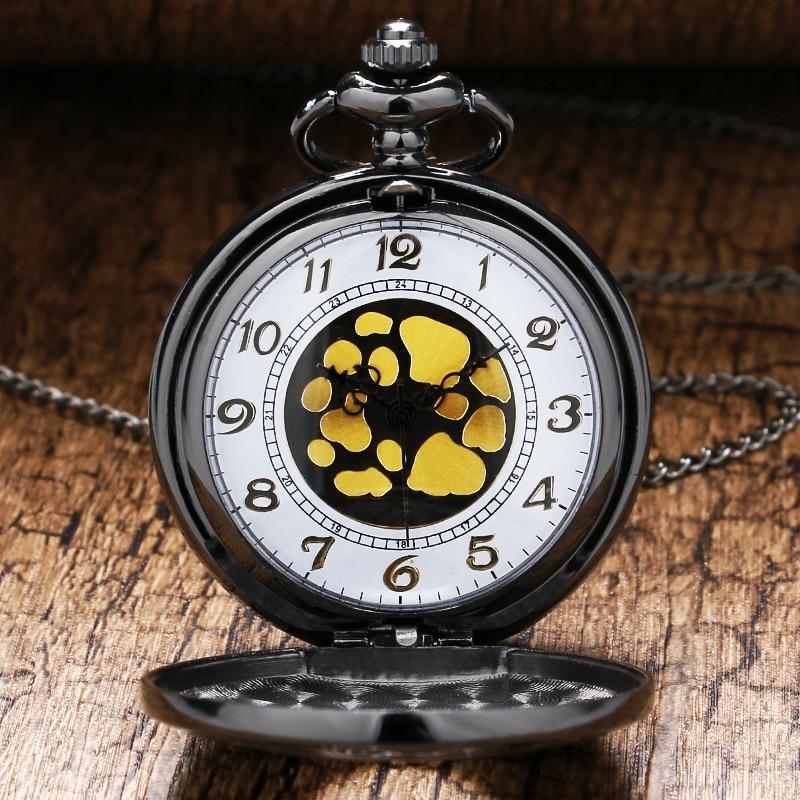 Design Black Gray Roman Dial Quartz Vintage Antique Pocket Watch Necklace Watches With Chain P413