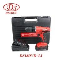 DS литиевых Перезаряжаемые ручная дрель 18 В Электрический Sscrewdriver DS18DVD LI воздействия электрических Дрель шуруповерт 1 предмет