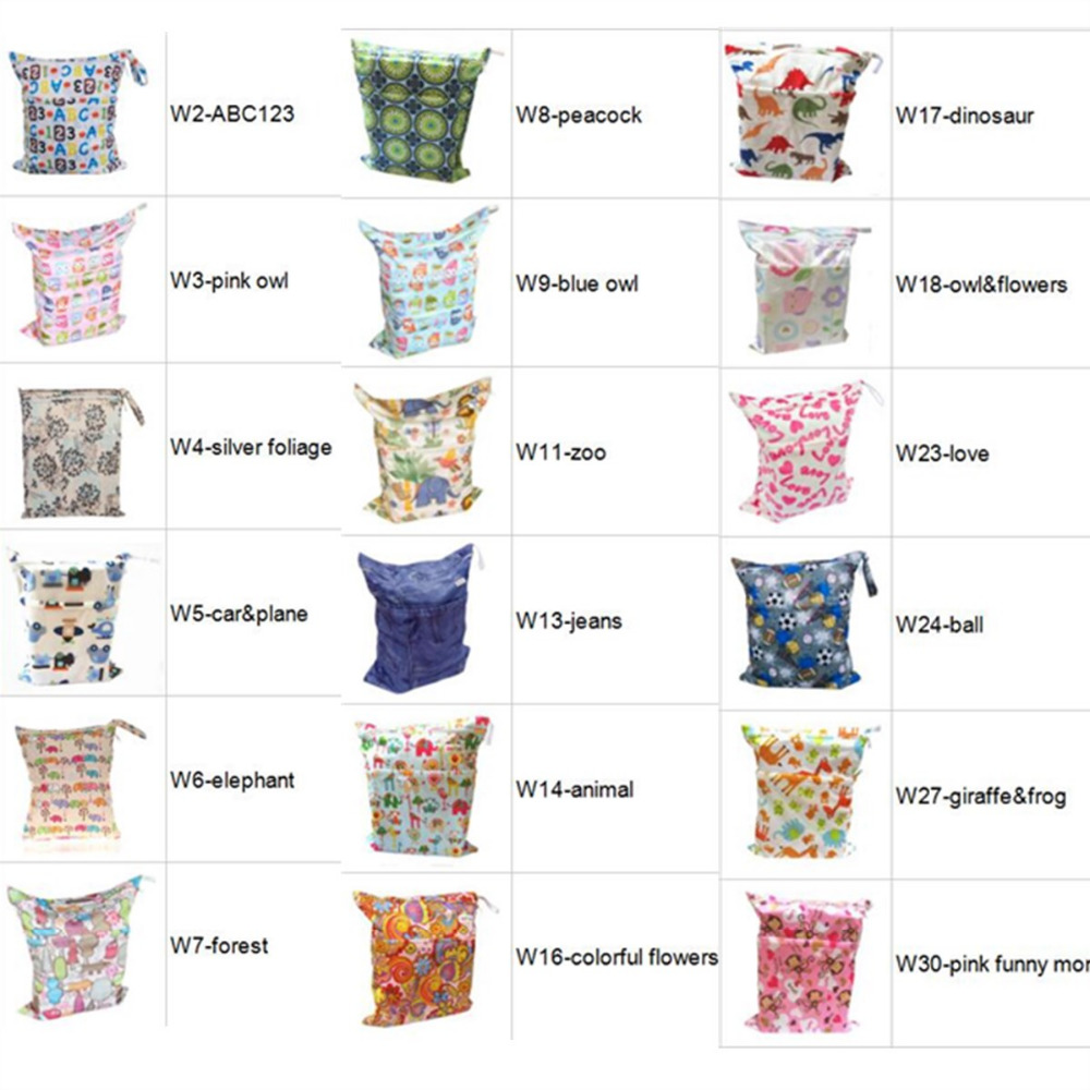 HTB1OZCfXfvsK1RjSspdq6AZepXaM [Sigzagor]Wet Dry Bag With Two Zippered Baby Diaper Bag Nappy Bag,Waterproof Reusable 36cmx29cm Owl&Tree 100 Designs