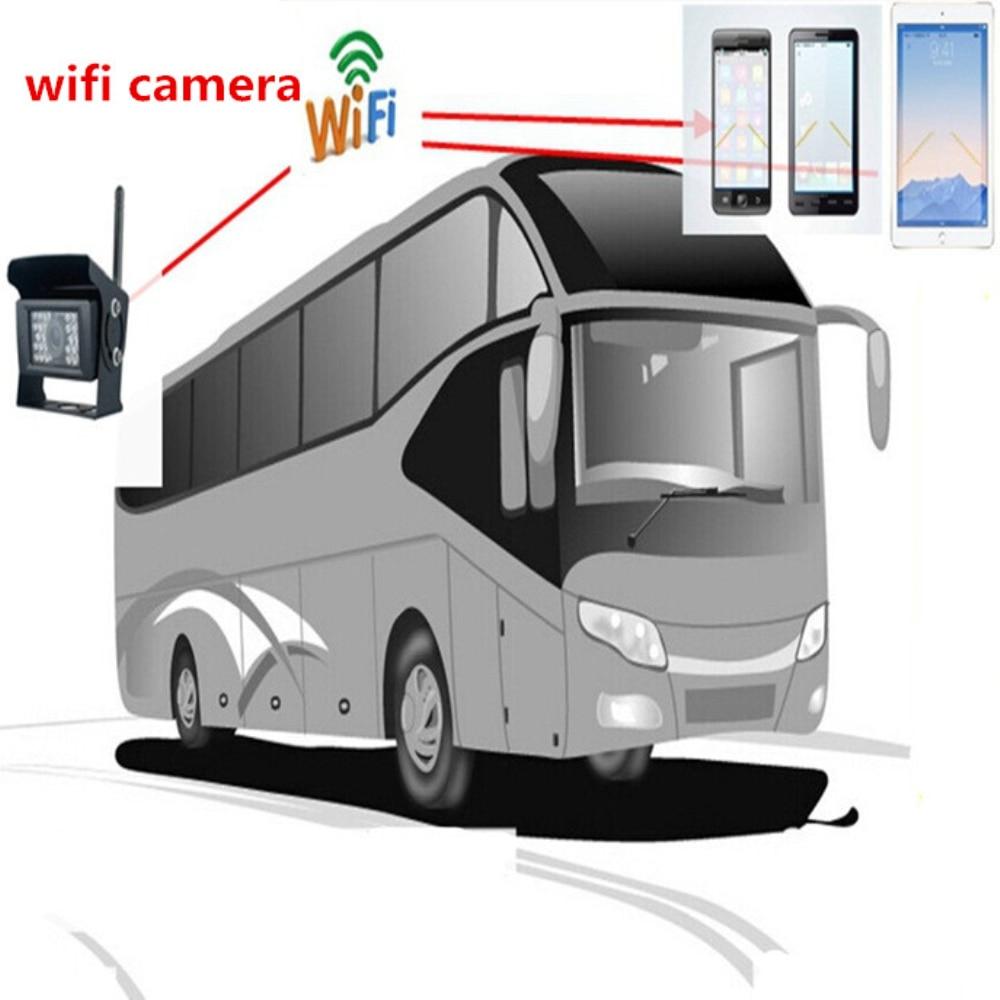 imágenes para Iphone Android Teléfono WIFI de La Cámara para Camiones/Autobuses de Visión Trasera Cámara de Vigilancia con Visión Nocturna Resistente Al Agua 120 Grados 28LED